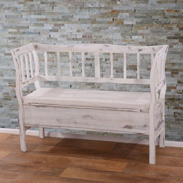 Bílá dřevěná lavice s úložným prostorem a podsedákem Mendler Shabby