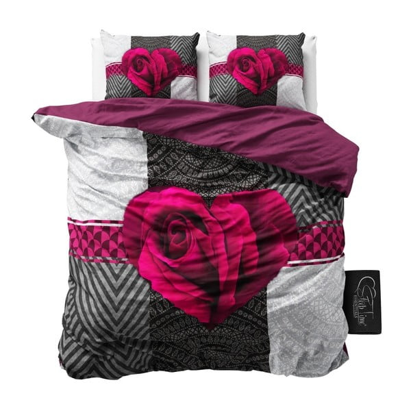Lenjerie de pat din bumbac Dreamhouse Garden Rose, 240 x 200 cm, roz