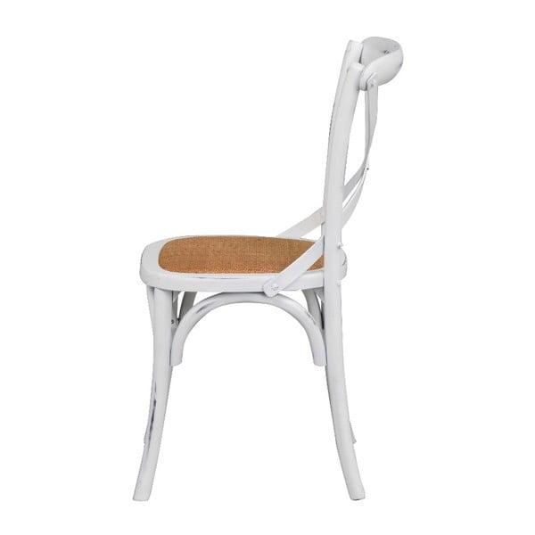 Bílá jídelní židle s ratanovým výletem Rowico Gaston