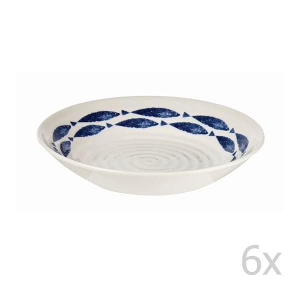 Sada 6 ks hlubokých talířů Fishie White, 20 cm