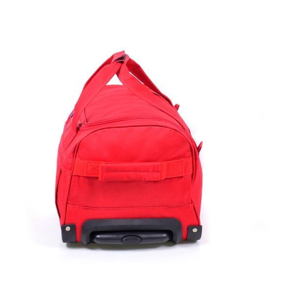 Červená cestovní taška na kolečkách Hero,83l