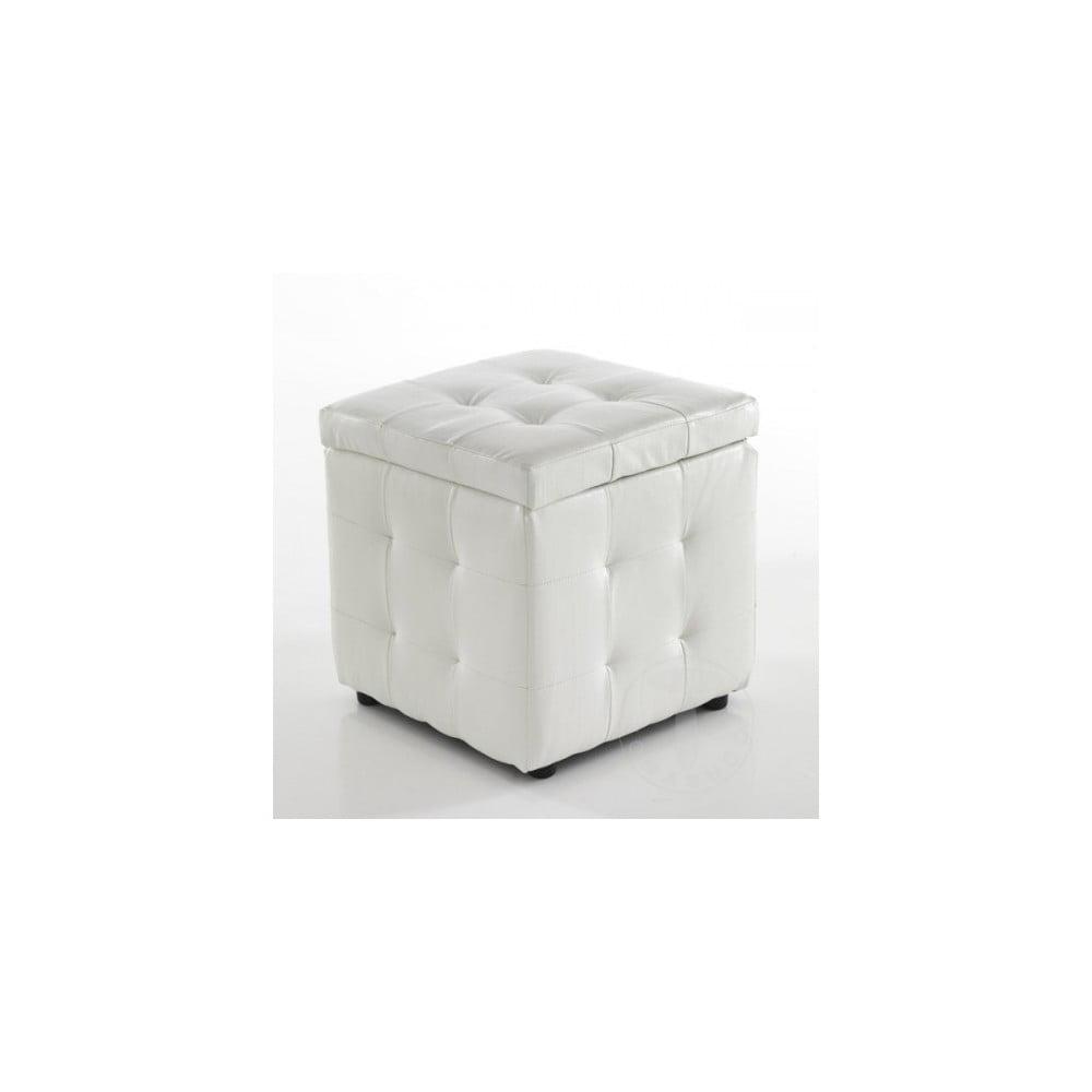 Bílý puf s úložným prostorem Tomasucci Dado
