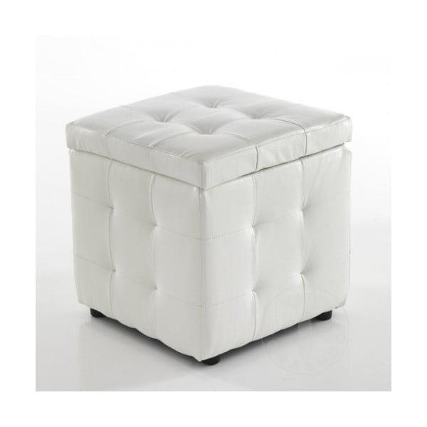 Bílý dekorativní puf s úložným prostorem Tomasucci Dado