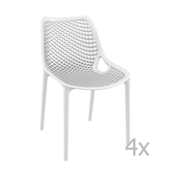 Zestaw 4 białych krzeseł ogrodowych Resol Grid Simple