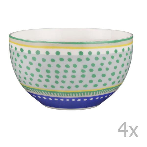 Sada 4 porcelánových misek s puntíky Oilily 15 cm, zelená