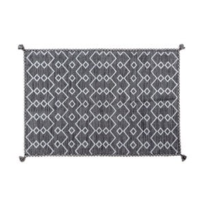 Tmavě šedý ručně tkaný koberec Navaei & Co Kilim Elegant 12, 110x60cm