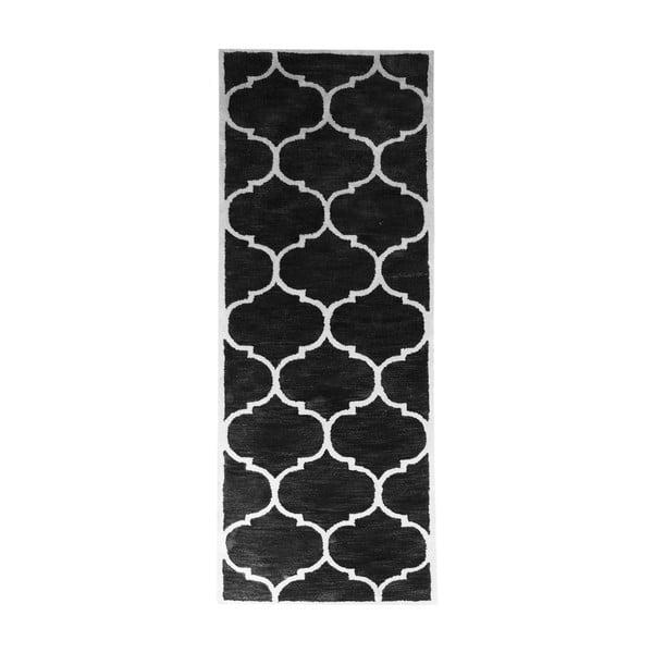 Černý vlněný koberec Florida, 78 x 244 cm