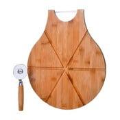 Set tocător din bambus și cuțit pentru pizza Unimasa Cutter