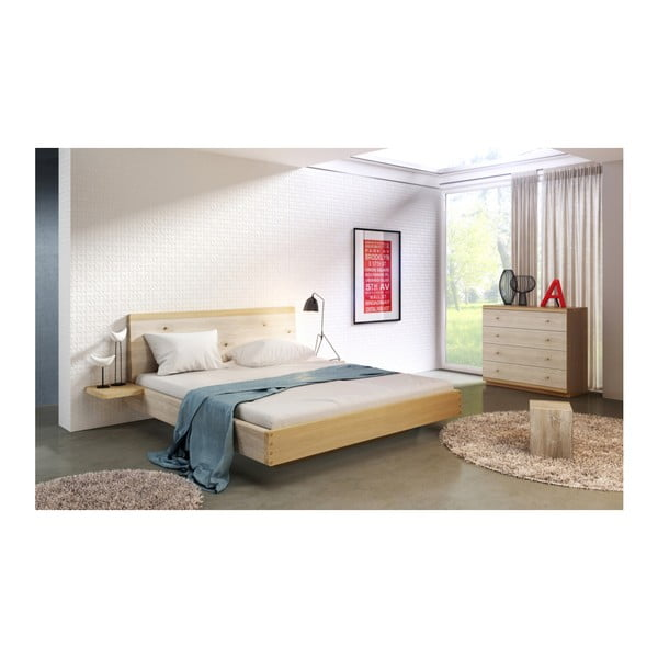 Přírodní dvoulůžková postel z masivního dubového dřeva JELÍNEK Amanta, 160x200cm