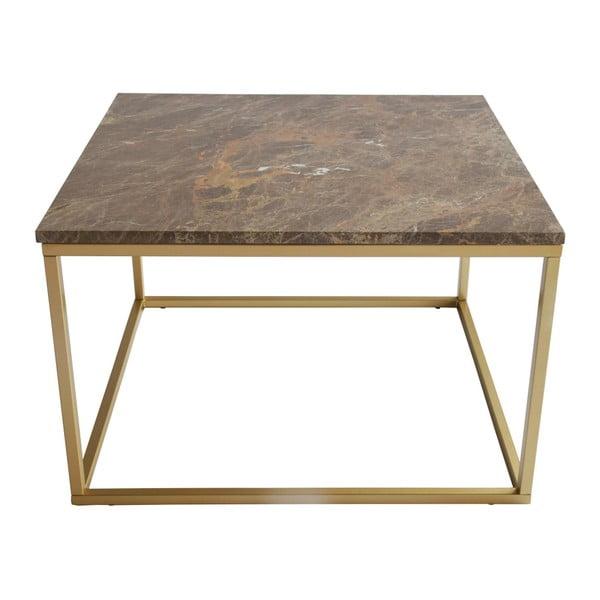 Konferenční stolek s podnožím ve zlaté barvě a hnědou mramorovou deskou RGE Accent, šířka75cm