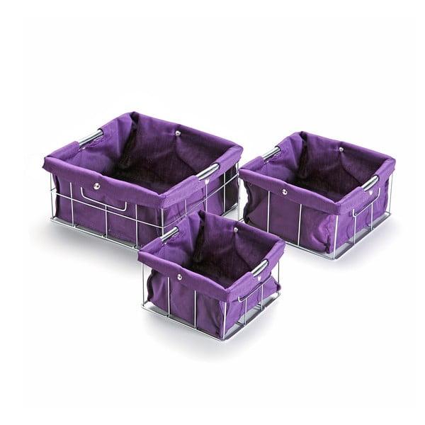 Zestaw 3 fioletowych koszyków Versa Cestas
