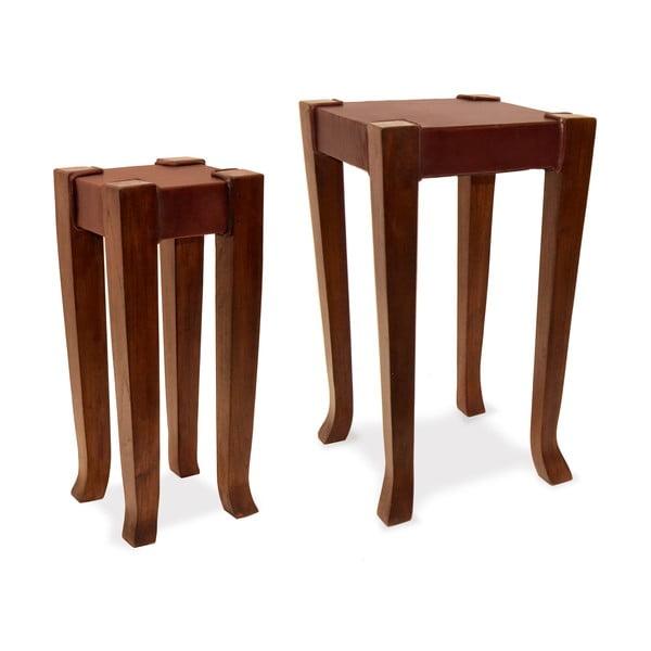 Sada 2 kožených stolků Moycor Au x iliary