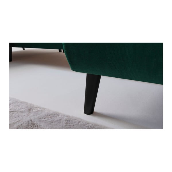 Zelená rozkládací pohovka s lenoškou Bobochic Paris Hera, pravý roh