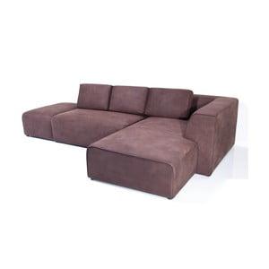 Canapea cu șezlong pe partea dreaptă Kare  Design Infinity Antique, bordo