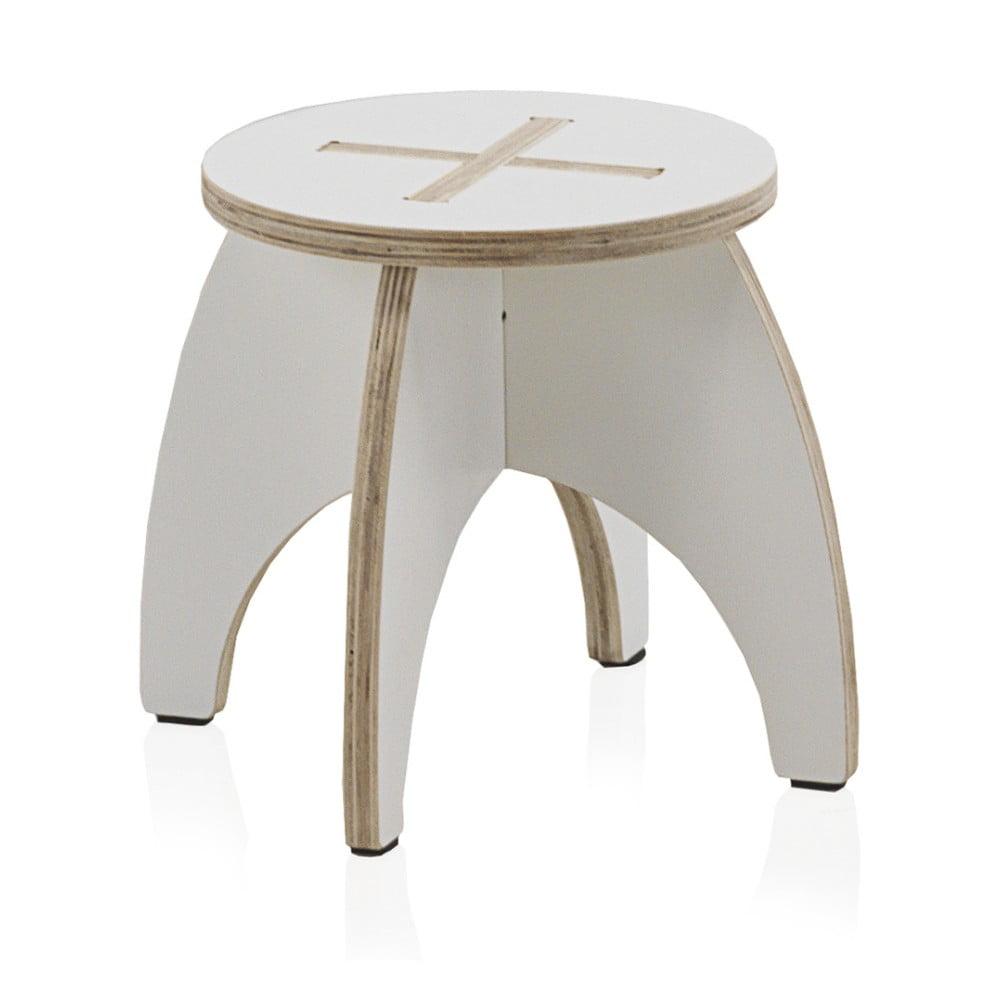 Bílá dětská stolička z překližky Geese, ⌀ 30 cm