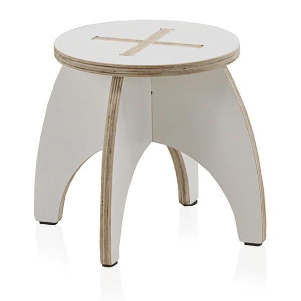 Biela detská stolička z preglejky Geese Piper, ⌀ 30 cm