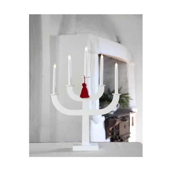 Bílý LED svícen s červeným střapcem