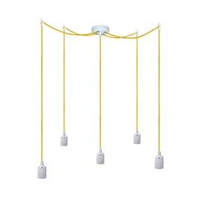 Pět závěsných kabelů Uno, žlutá/bílá