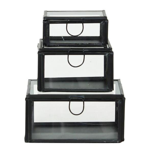 Set 3 skleněných boxů Brass Black