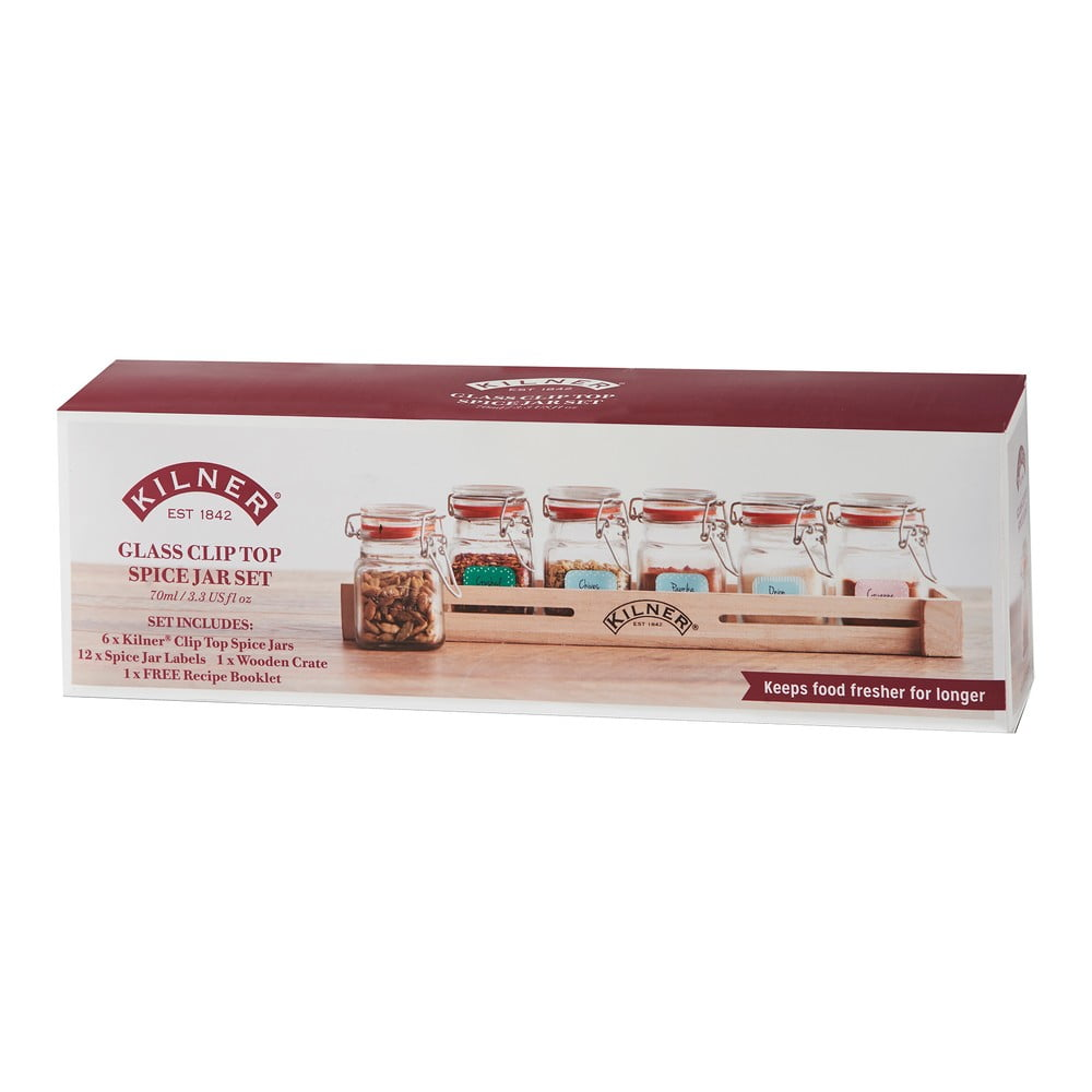 Sada 6 kořenek v dřevěné poličce Kilner Herbs&Spices