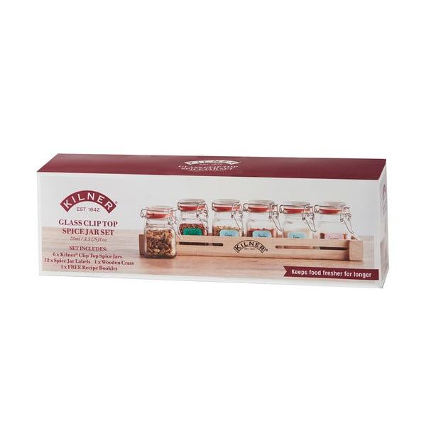 Sada 6 koreničiek v drevenej poličke Kilner Herbs&Spices