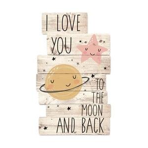 Dřevěná nástěnná dekorace Tanuki I Love You To The Moon, 30x48cm