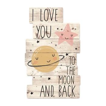 Decorațiune din lemn de perete Tanuki I Love You To The Moon, 30 x 48 cm de la Tanuki