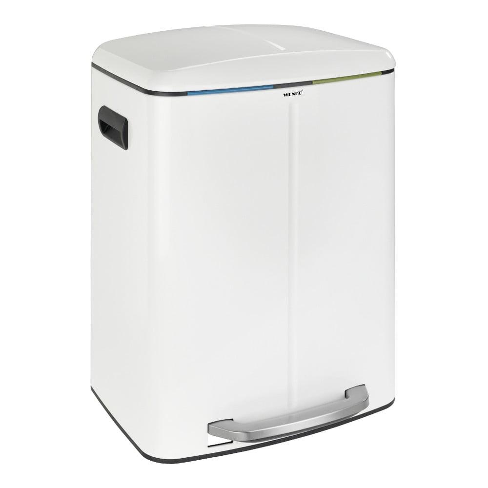 Dvojitý bílý pedálový odpadkový koš Wenko, 2x20l Wenko