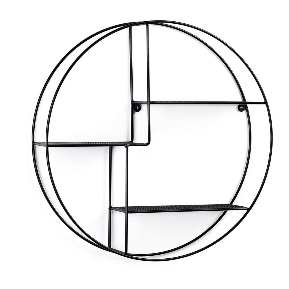 Černá kulatá nástěnná police La Forma, ø55cm