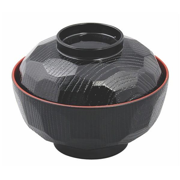 Czarna miska na zupę z czerwoną krawędzią Tokyo Design Studio, 300 ml