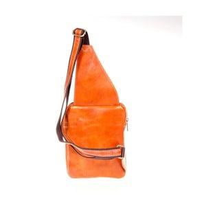 Koňakově hnědý kožený batoh přes rameno Italia in Pogress Martino