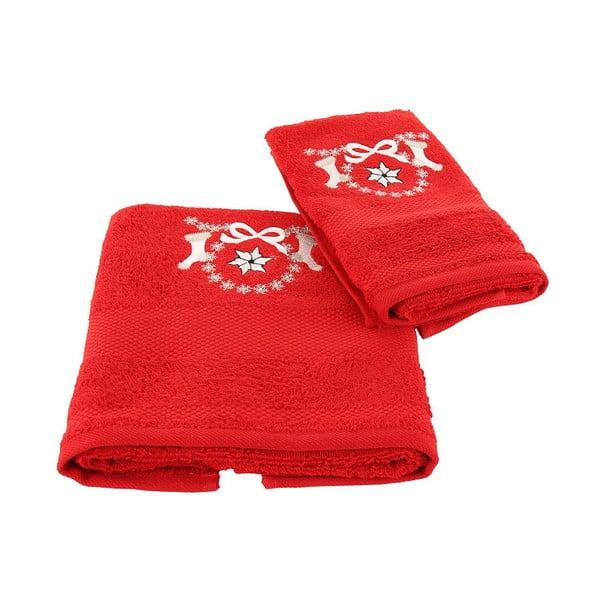 Vánoční set červeného ručníku a osušky Corap