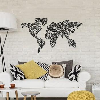 Decorațiune metalică de perete The World Is Mine, 120 x 64 cm, negru imagine