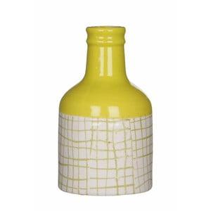 Žlutobílá keramická váza Mica Fabio, 17x9,5cm
