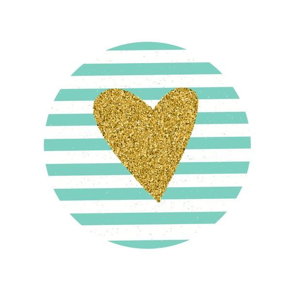 Sada 2 odkládacích stolků Gold Heart, 35 cm + 49 cm