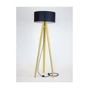 Žlutá stojací lampa s černým stínítkem a černým kabelem Ragaba Wanda