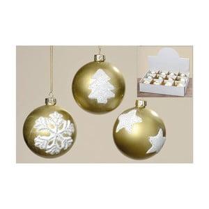 Sada 12 ks vánočních koulí Winter Gold