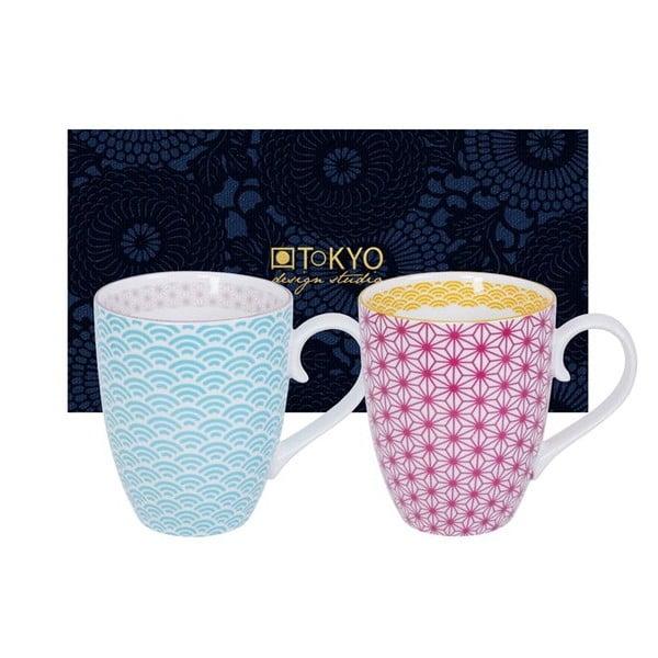 Zestaw różowego i niebieskiego kubka Tokyo Design Studio Star/Wave, 380ml