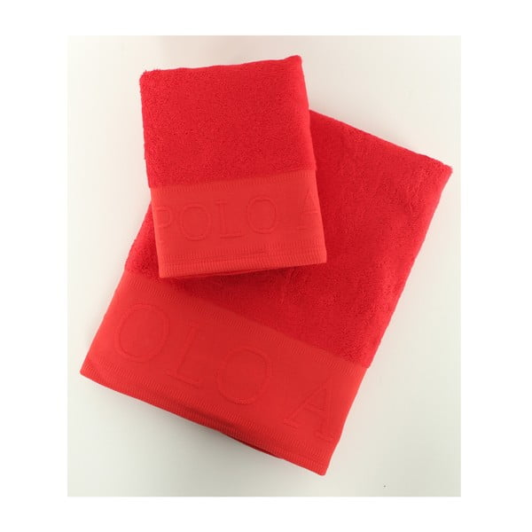 Sada 2 osušek Towel US Polo Red, 50x90 a 90x150 cm