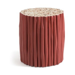 Vínově červený taburet z teakového dřeva La Forma Filippo