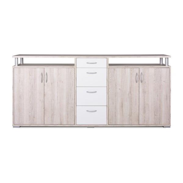 4-drzwiowa komoda z dekorem jasnego drewna z 4 białymi szufladami Intertrade Maximo