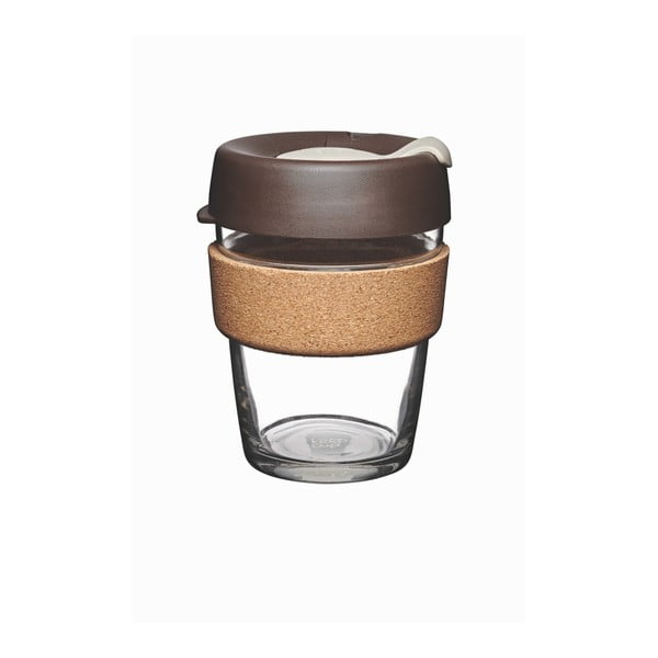 Pahar de voiaj cu capac KeepCup Brew Cork Edition Almond, 340 ml