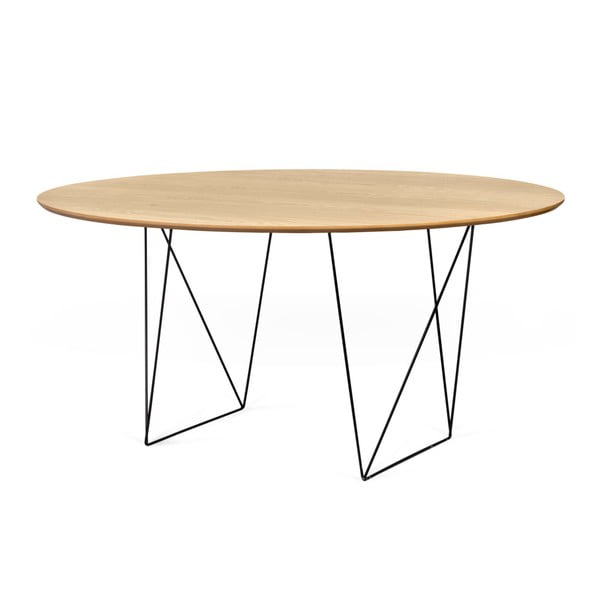 Masă dining cu decor stejar TemaHome Row, ⌀ 150 cm, natural