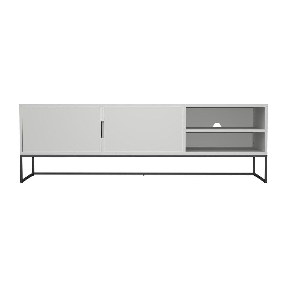 Bílý TV stolek s kovovými nohami v černé barvě Tenzo Lipp, šířka 176 cm