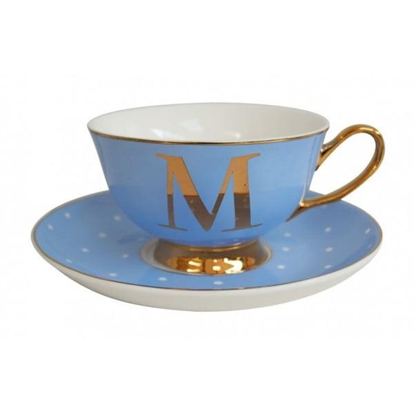 Modrý   hrnek a podšálek s písmenem M Bombay Duck