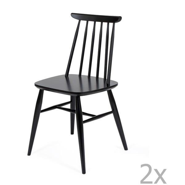Sada 2 černých jídelních židlí z masivní břízy Woodman Aino