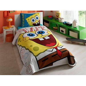 Přehoz s polštářem a prostěradlem TAC Spongebob, 160x230 cm