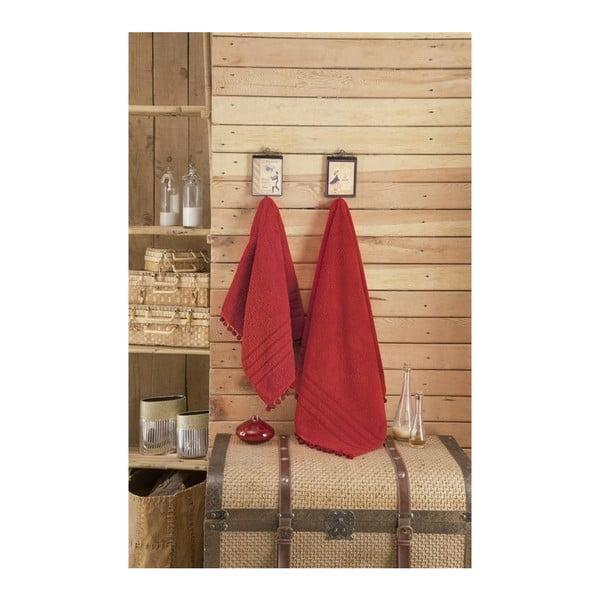 Červený ručník s ozdobným lemem Apolena, 50 x 90 cm