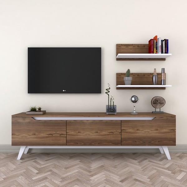 Set comodă TV cu 3 uși rabatabile și 2 etajere de perete Wren Natural, natural