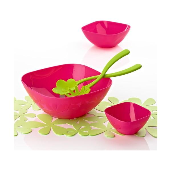 Salátová mísa 26 cm s příborem, růžová